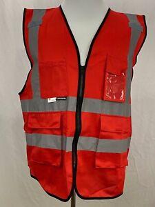 Salzmann 3M Scotchlite  Red Multi Pocket Reflective Material Safety Vest 2XL XXL