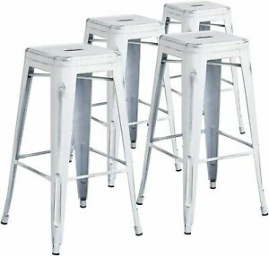 Barstool 4 Pack 30 Inches High Backless Distressed White Metal Flash Furniture