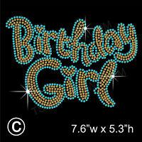 'Birthday Girl' Rhinestone/Diamante Transfer Hotfix Iron on Motif + Free Gift