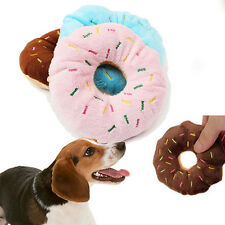 11CM Pet Dog Puppy Cat Chew Donut Tugging Squeaker Quack Sound Toy Play Toys