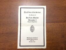 1934 King Alexander I Yugoslavia Order Service Washington Cathedral Memory Progr