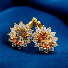Elegant Gift 5 Colors Gold Filled Oval Cubic Zircon Ladies Hoop Earrings