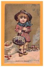 IMAGE chromo CHOCOLAT GUERIN BOUTRON / ENFANT & MARRONS au FEU de BOIS
