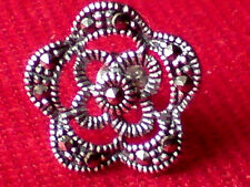 SINGLE STERLING SILVER 15mm STUD EARRING with FACETED MARCASITE STONES £6.50 NWT