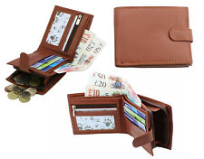 RFID Proof Wallet Men Real Leather Purse With Zip Coin Pocket & ID Window 42 Tan