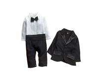 Bilo Baby Boy Cotton Tuxedo Romper and Jacket 2pcs Formal Wear Suit 3-24M