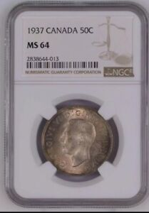 1937 Canada 50 Cents NGC MS64 Colorful Toning Low Mintage high value Rare Coin