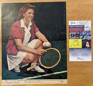 Margaret Osborne DuPont Signed Autographed 8x10 Magazine Page JSA Cert Tennis