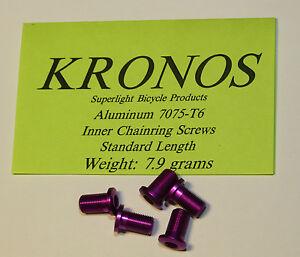 Kronos Aluminum Alloy Inner Chainring Bolts Purple (13.5 mm long) - 5 pcs.
