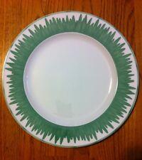 "Hungary Guy Degrenne Pareo Jardin White Ceramic Green Grass Rim CHOP PLATTER 12"""