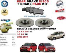 FOR RENAULT MEGANE II SPORT TOURER REAR BRAKE DISCS SET + DISC PADS KIT