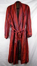 Rare Vintage Victorian Edwardian Smoking Loung Robe Red Taffeta Stripe 1880 1900
