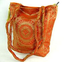 Seda Indio Bolso De Mano, Forrada En Algodón, con cremallera, bolsillo interior