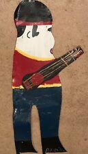 "LARGE RA MILLER -ELVIS WITH GUITAR - CutoutMETAL FOLK OUTSIDER ART, 27"" Tall"