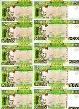 LOT, Guinea, 10 x 500 Francs, 2012, Pick 39b, UNC > colorful