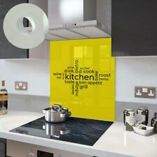 Premier Range Your Own Word Collage On A Glass Splashback In Yellow Kitchen