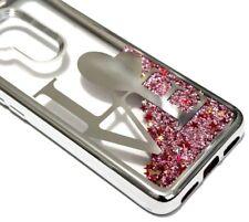 For Alcatel 7 Folio - Silver Love Heart Pink Glitter Star Liquid Skin Case Cover