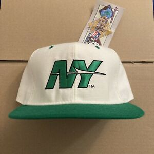 Vtg NWT New York Jets Fitted Hat New Era Cap NY Ivory And Green Size 7 3/8 True