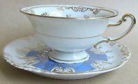 KONIGL PR TETTAU A880 PATTERN BLUE & GILT FOOTED TEA CUP AND SAUCER  (Ref6213)
