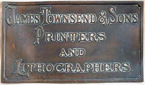 Antique bronze English factory plaque sign plate James Townsend Lithographer C19