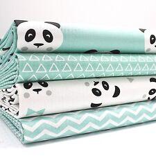 lot de Fat Quarter (46 x 54 cm) - Panda Aqua x 4 100% Tissu Coton Pour Enfants