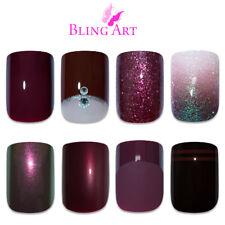 Bling Art False Nails Red Maroon Brown Gel Glitter French Manicure Fake Medium