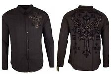 Xtreme Couture AFFLICTION Mens BUTTON DOWN Shirt ROYALTY REV WING Gym Black $78