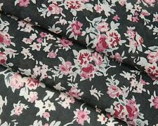 Q65 Black Pink Red Rose Print Floral Silk Cotton Fabric by the Metre
