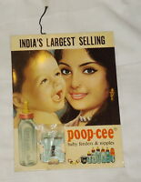 Vintage ADVERTISING TIN Sign POOP-CEE BABY FEEDERS & NIPPLES CALENDAR