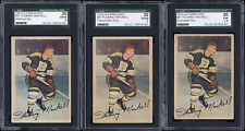 1953-54 Parkhurst Hockey Cards #91 Fleming Mackell All 3 Variations SGC graded