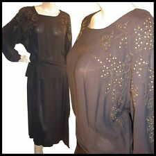 Vtg 40s Gold STUDDED Peplum Crepe GLAMOUR Dress L 40B