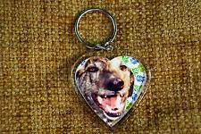 Greyhound Gift Keyring Dog Key Ring heart gift Freepost UK Valentine, % charity