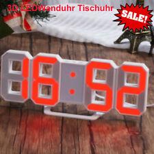 Digital Numbers Wanduhr Tischuhr 3D LED Modern Wall Clock Uhr Alarm 24/12Hr Gift