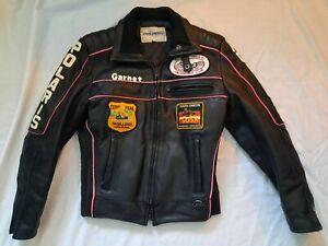 Vintage Polaris Leather Snowmobile Jacket Women's Size XS Black Hills Patches