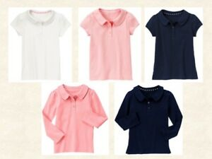 Gymboree girl Polo uniform shirt school top Pink, Navy, White  sz 6, 7, 8 NWT