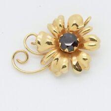 Vintage Signed AREGE Jewelry 10k Rose Gold Flower Pendant Red Garnet Stone