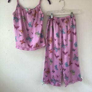 Nick & Nora Silky Feel Purple Butterfly 2 Piece Pajama Set Girls Size-11/12