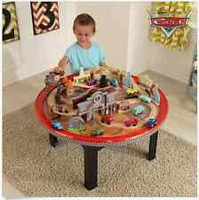 KidKraft Cars Sturdy Round Kids Wood Racetrack Drifters Play Table 70 Piece Set