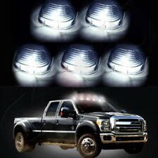 5 Smoke Roof Lights Cab Marker Cover T10 LED Bulbs for For Ford White