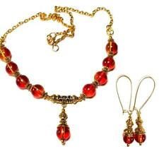 GOLD NECKLACE EARRING SET Red Yellow gypsy vintage antique style chic retro prom