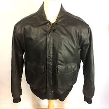 Vintage Style WWII A-2 Bomber Air Force Military Leather Coat Jacket Map XL