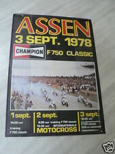 POSTER ASSEN CHAMPION F750 CLASSIC 3 SEPTEMBER 1978,HARTOG,CECOTTO,