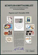 BUND KÜNSTLER-ETB 1988/24 KRISTALLNACHT KÜNSTLER-ERSTTAGSBLATT LTD. EDITION