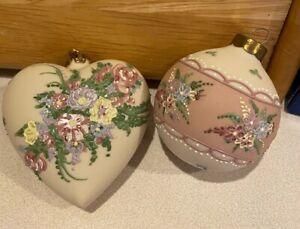 Rhyn-Rivet Ornament Heart Disney Porcelain Signed Date 1997 Desert  Rose Ball