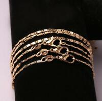 1/5/10x Wholesale 18K Gold Plated 2mm Charming Curb Flat Chain Necklace 16-24''