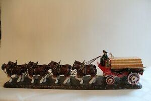 BUDWEISER CHAMPION CLYDESDALE TEAM, 8-HORSE HITCH w/ WAGON  17in -Dept 56 2004