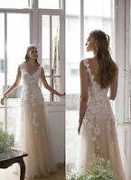 Champagne Tulle Column V Neck Wedding Bridal Beach Casual Dress Dance Ball Gown