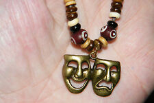 """Drama Comedy Tragedy Masks Necklace Actors Theater BRONZE Faces 16""""-28"""" Cord NEW"""