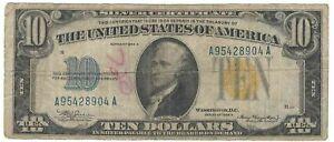 Series 1934 A WW2 $10 N. Africa Emergency Currency Silver Certificate w/Graffiti