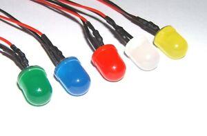 Pre Wired LEDs 8mm Difussed 5V-12V Various Colours/Packs Prewired UK Seller